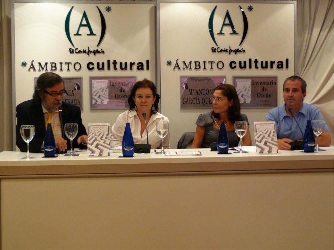 Ramón Pernas, Clara Sánchez, la autora y Jesús Espino